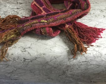 Scarf, crocheted scarf, handcrocheted scarf, handmade scarf, pink shades scarf, winter scarf