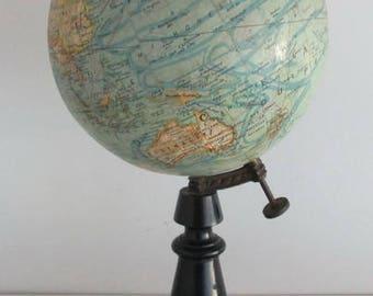 antique French globe 1920 black wooden base  Forest