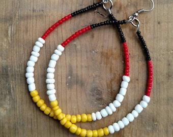 Yellow, Black, White, Red, Beaded, Tribal Hoop Earrings