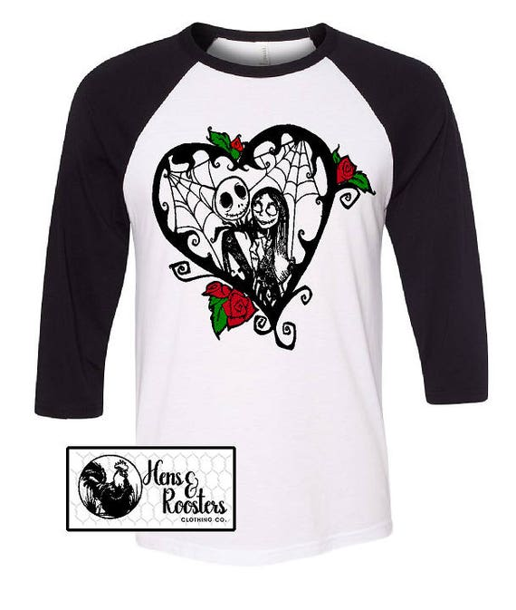 LIMITED Jack and Sally Valentines Day Shirt / Nightmare Before Christmas T-Shirt / Super Soft Unisex Raglan / Baseball T-Shirt (B3200) #1360