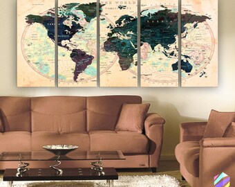 "XLARGE 30""x70"" 5 Panels 30""x14"" Ea Art Canvas Print Watercolor Green Beige Map World Push Pin Travel Wall decor (framed 1.5"" depth)M1803"