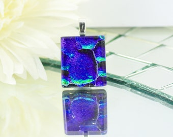 Small Fused Glass Pendant - Dichroic Glass Jewellery - Necklace - Vibrant Cobalt Blue and Golden Green - Fused Glass Jewelry.  JBT556