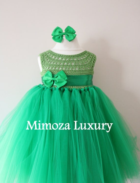 SALE size 12-18m, Ready to ship, Birthday dress tutu dress,  bridesmaid dress, green princess dress, crochet top tulle
