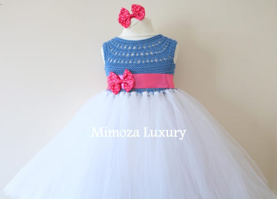 SALE size 18-24m Ready to ship, Blue Flower girl dress tutu dress,  bridesmaid dress, princess dress, crochet top tulle