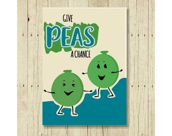 Give Peas A Chance Magnet, Funny Refrigerator Magnet, Cute Fridge Magnet, Gifts Under 10, Small Gift, Vegetable Art