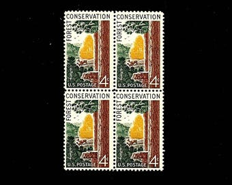 1958 Pack of (10) FOREST CONSERVATION - Vintage Unused U.S. Postage Stamps - with original, undisturbed, never hinged gum -- Free Shipping