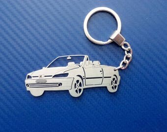 Peugeot 306 cabriolet Key chain, Car Keychain, Personalized Keychain, Keychain for Peugeot 306, Custom Keychain, Stainless Steel Keyring