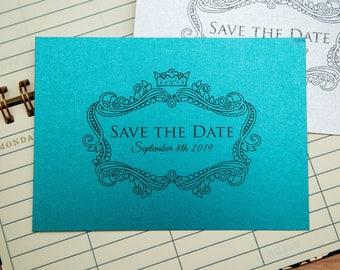 Pearlescent Save the date wedding invitations. Shiny Invite postcards. Double sided with optional envelopes. Elegant wedding stationary. UK