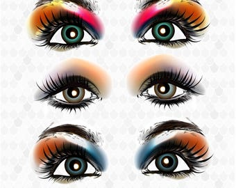 Eyes Clip Art, Beauty Clipart, Make up Clipart, Cosmetics, PNG Files, Decal for Shops, Women Clipart, Free Commercial Use, Instant Download