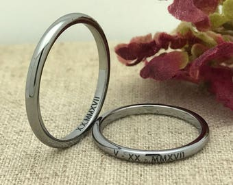 3mm His and Hers Tungsten Wedding Ring, Personalized  Custom Engraved Tungsten Ring, Unisex Ring, Promise Ring, Purity Ring