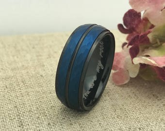 8mm Personalized Tungsten Wedding Band, Blue and Black Plated Hammered Wedding Band, Men's Wedding Band, Custom Engraved Ring