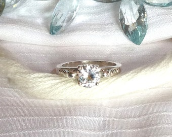 Sparkling Solitaire White Sapphire Ring ~ 925 Sterling Silver ~ Size 6.5