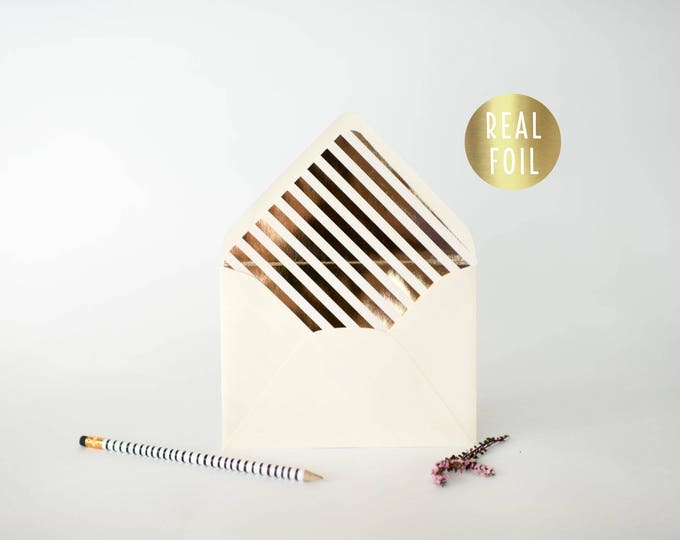 gold foil diagonal stripe lined envelopes  (sets of 10)  // gold foil modern envelope liners lined envelope