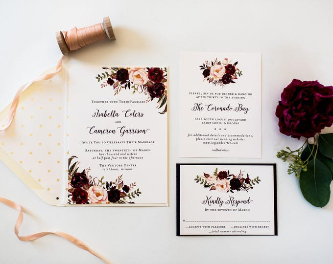 isabella burgundy floral wedding invitation sample //  watercolor gold foil blush calligraphy custom romantic invite printed invitation
