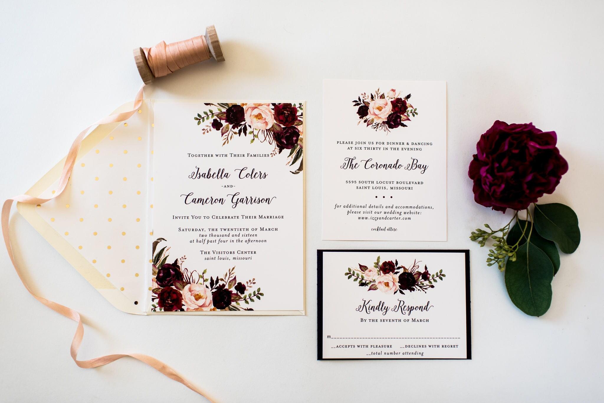 isabella burgundy floral wedding invitation sample // watercolor ...