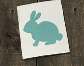 Aqua Bunny, Easter decor, Easter sign, spring decor, Bunny on reclaimed wood,