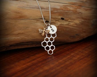 Bee necklace, Honneycomb necklace