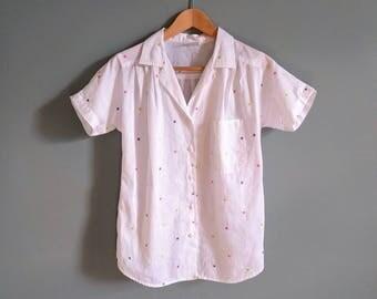 SALE vintage 80's pastel polka dot pleated short sleeved blouse in white