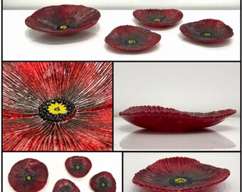 Handmade, red poppy flower, fused glass plate, accent piece for your home