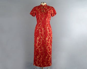 50s Silk Chongsam / Chinese Red Silk Chongsam / Wiggle Dress