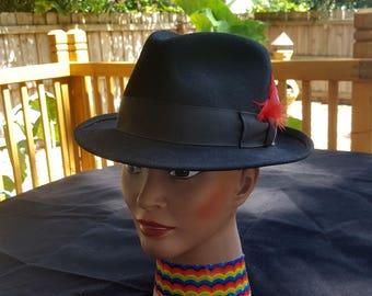 Black Microfelt Vintage Hat