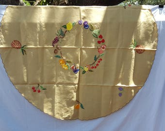 Super Cute Vintage Linen Round Tablecloth w/ Embroidered Fruit