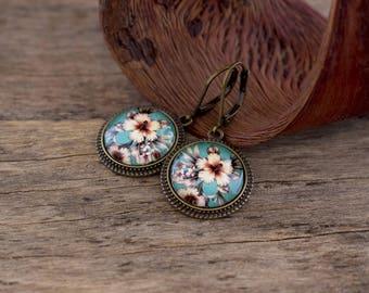 Hibiscus earrings, Hibiscus jewelry, Tropical earrings, Hibiscus flower earrings, Hawaiian earrings, Summer earrings, Dangle earrings TJ 073