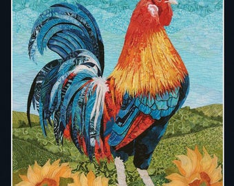 Card Textile Art with Rooster (C14)