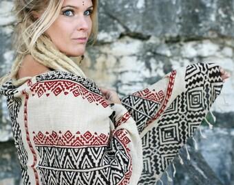 Vegetable Blockprinted Tribal shawl by GayatriTribalCrafts