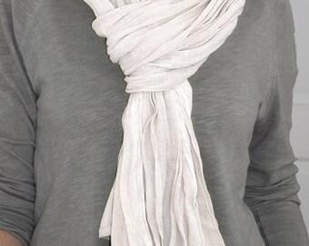 Cheich ou écharpe en voile de coton, foulard homme ou femme, chèche, écharpe mixte en couleur naturelle, teinture artisanale ton de beige