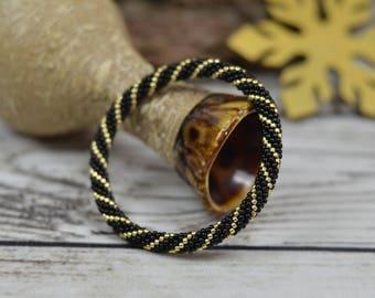 beauty gifts for girlfriend gift idea for her beaded bracelet black gold bracelet for women gift black jewelry bangle bracelet holiday gift