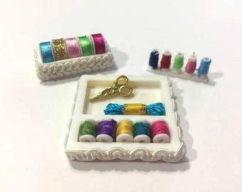 Dollhouse Miniature Sewing Accessories Set of 3 Assorted Threads Yarn Scissors Ribbon Trims White Decorative Box - 338
