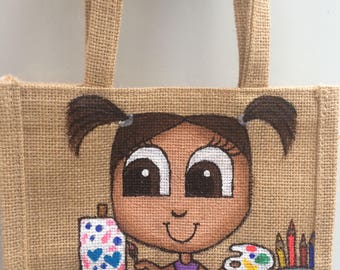 Small Jute Bag- Kids, Arts and Crafts, Painter/Artist Painted Bag