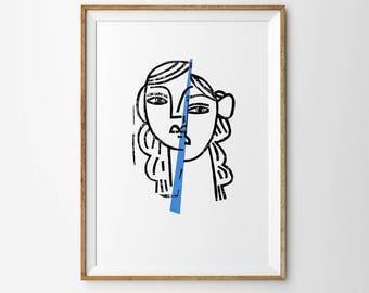 Persona. Mirror. Original artwork. Black and white girl portrait, painting, gouache on paper. Traditional linocut. Signed by artist. 50x70cm