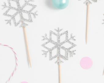 Snowflake Cupcake Topper, Winter Wonderland Cupcake Topper, Gold Glitter Snowflake Topper, Silver Glitter Snowflake Topper