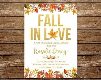 Fall in love bridal shower invitation fall in love invitation printable invite fall bridal shower autumn bridal shower falling in love 278