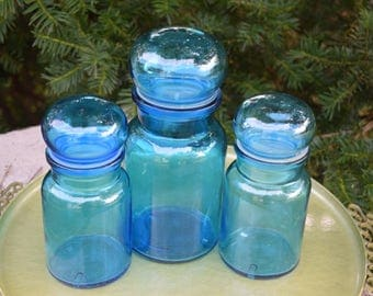 Belgium Blue Apothecary Jar Sewing Jar With Bubble Top Set of 1 large and 2 Medium Sized Jars