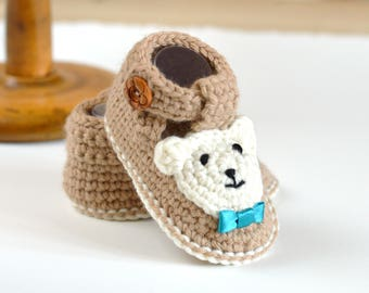 CROCHET PATTERN Baby Booties Bear Booties for Boys AND Girls in 4 Sizes 0-3, 3-6, 6-9, 9-12 months Easy Baby Shoes Pattern Instant Download