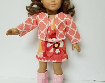 """70's Mini Dress for any 18"""" doll like the American Girl 4 pieces Jacket or Poncho"""