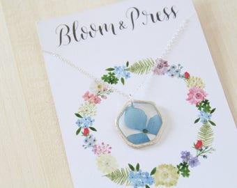 Blue Hydrangea Silver Hexagon Pressed Flower Necklace