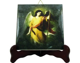 St Raphael the Archangel - Saint Raphael icon on ceramic tile handmade in Italy - catholic art - catholic saints serie - Archangel Raphael