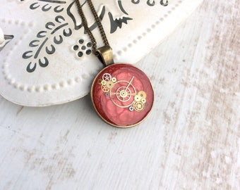 Round Red Necklace. Cogs and gears. Clockwork necklace. Upcycled jewellery. Watch Necklace. Red Resin Pendant. Steampunk Pendant. Dark Red
