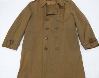 vintage London Fog Raincoat Trench Coat Overcoat Belted 60s sz 40 Mad Men Mod Olive