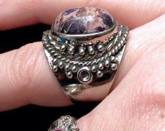 Sea Sediment Purple ocean Jasper + Antiqued Sterling Silver 925 Statement Ring Size 9 1/2
