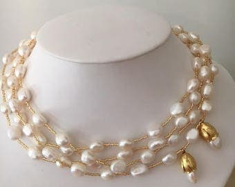 Four Strand Freshwater Pearl and Gold Necklace