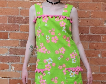 Fun and Floral 1970s Homesewn Sun Dress with Dingle Balls