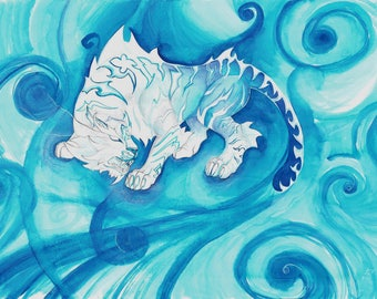 World of Warcraft Xuen the White Tiger painting A3