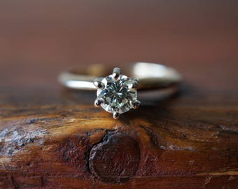 1970s 14K Vintage .43 Carat Diamond Solitaire Engagement Ring in Yellow Gold
