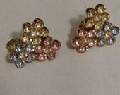 MONET Floral Rhinestone Earrings, Pastel Rhinestones, Flower Pattern, Pink, Blue Yellow Rhinestones, Clip On Vintage Earrings