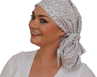 Jessica Pre-Tied Head Scarf - Women's Cancer Headwear, Chemo Scarf, Alopecia Hat, Head Wrap, Head Cover for Hair Loss - Winter Leaves